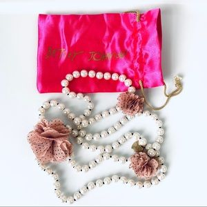 Betsey Johnson Faux Pearl & Flower Necklace